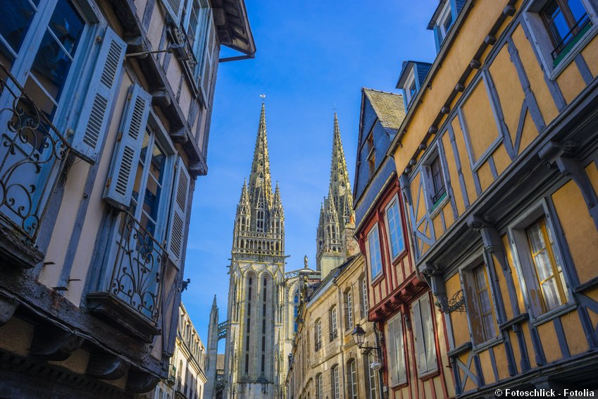 Medieval street leading to cathedral Saint Corentin in Quimper