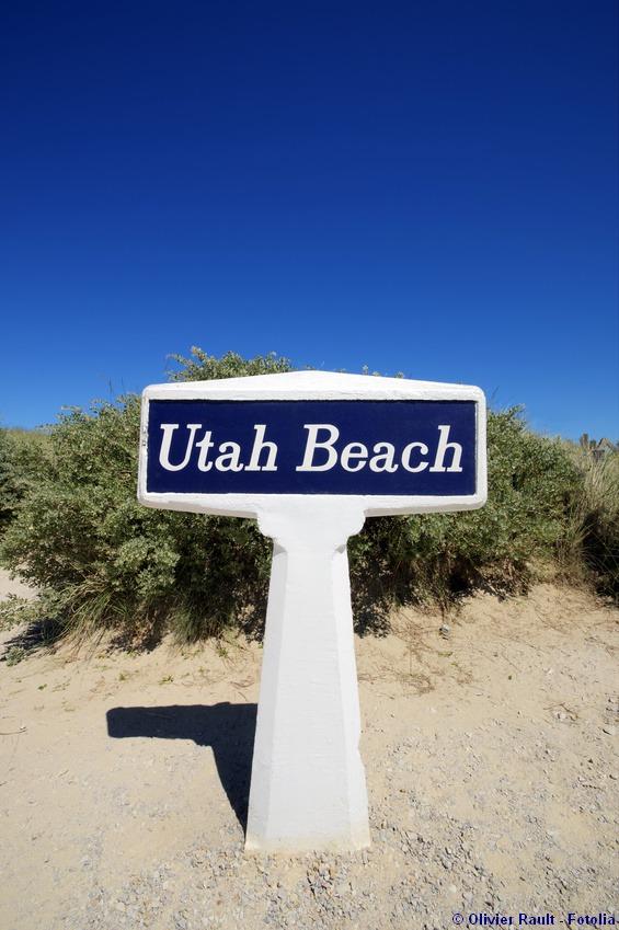 Remains of german wall defending Utah beach