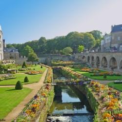 Beautiful flower garden under the Château de L'Hermine in Vannes