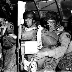 American paratroopers in a C-47 just before take-off