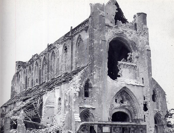 Partly destroyed abbey d'Ardenne used by german SS troops after D-Day outside of Caen